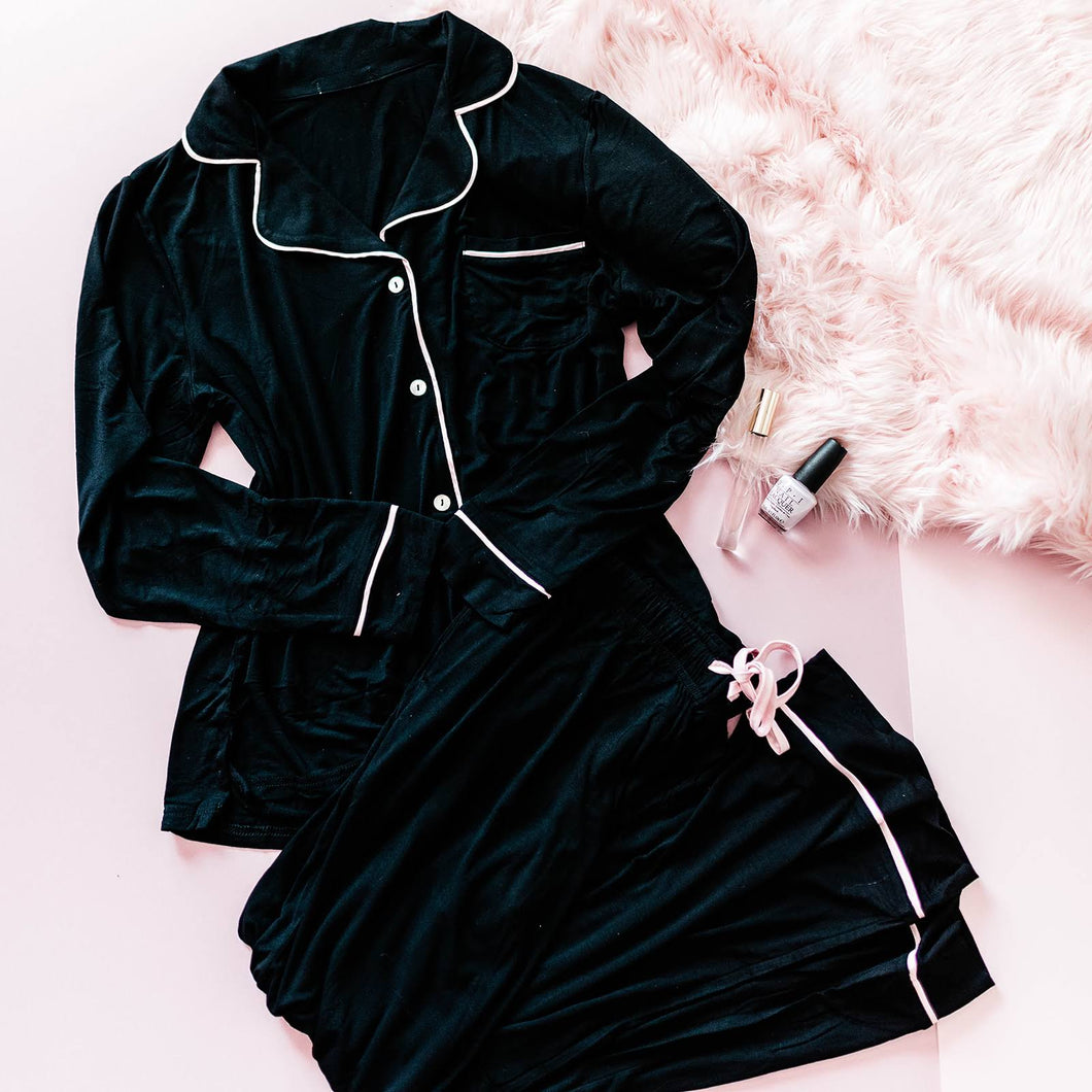 Long Sleeve Pajama Set - Black
