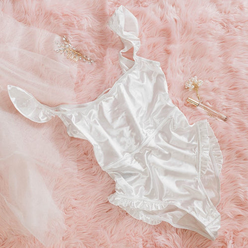 Ruffle Trim Satin Teddy - White