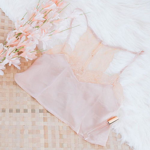 Satin & Lace Crop Tank - Champagne