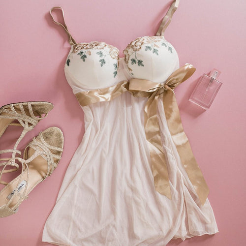 Embroidered Padded Babydoll - Ivory - Plus Size