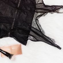 Eyelash Lace & Mesh Teddy - Black - Plus Size