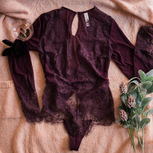 Eyelash Lace & Mesh Long Sleeve Teddy - Plum