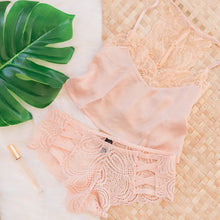Lacy Strappy Cheeky Panty - Light Peach