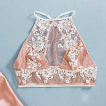 Floral Embroidered High Neck Bralette - Blush
