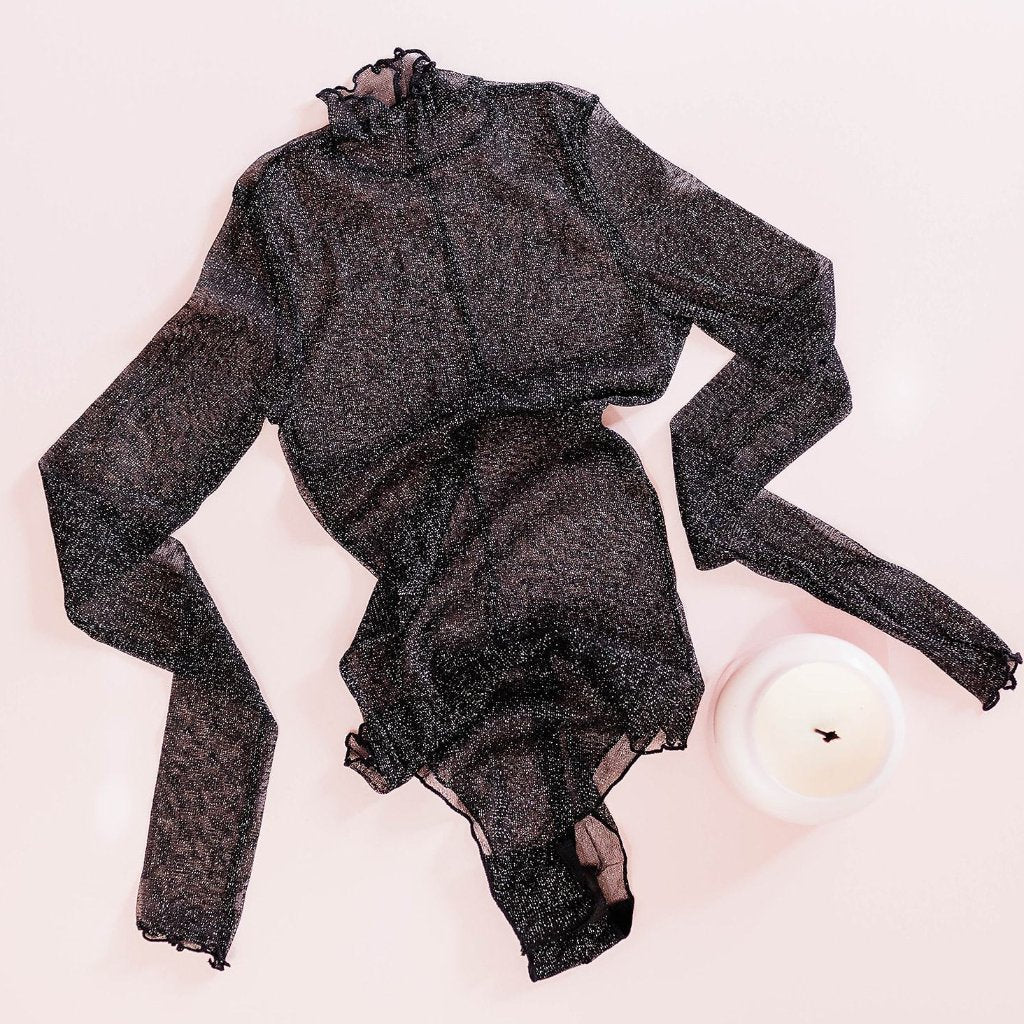 Long Sleeve Metallic Mesh Teddy - Black
