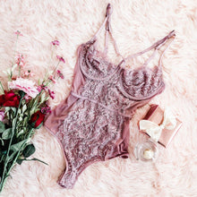 Criss Cross Lacy Teddy - Mauve