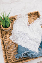 Lacy Plunge Long Cropped Bralette - Ivory