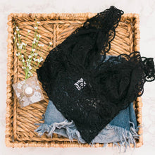Lacy Plunge Long Cropped Bralette - Black