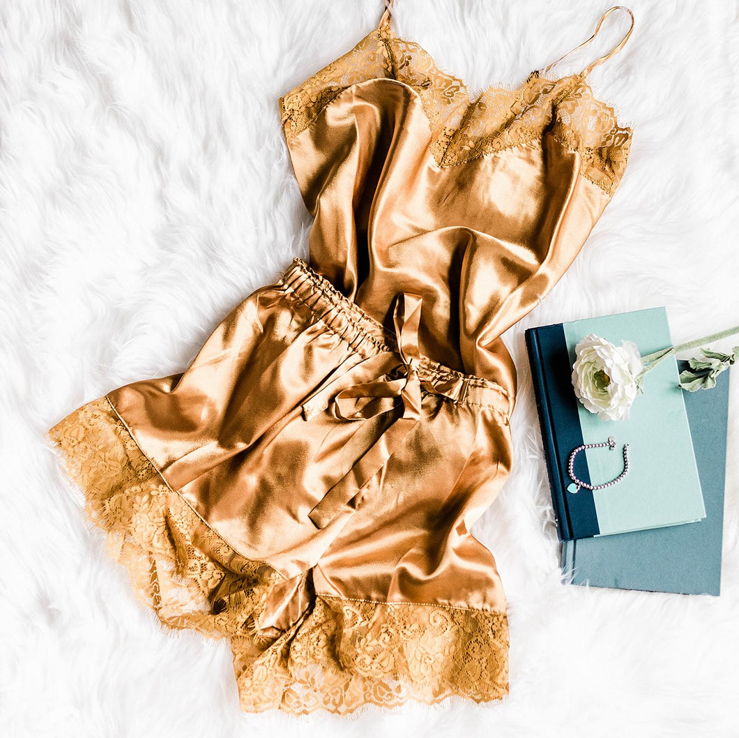 Satin Shorts & Cami Set - Mustard - Plus Size