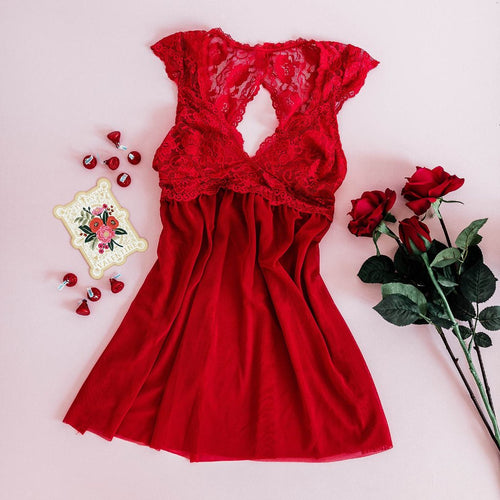 Lacy Back Babydoll - Red