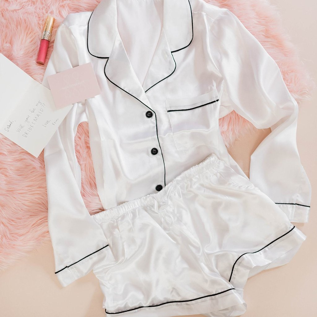 Satin Pajama Set - White - Plus Size