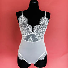 Eyelash Lace & Mesh Teddy - White - Plus Size