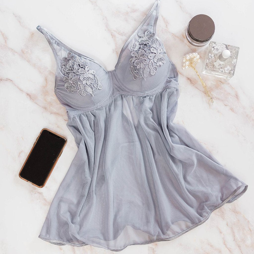 Floral Applique Babydoll - Grey