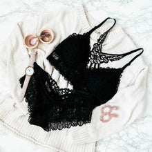 Floral Lace Padded Bralette - Black