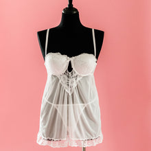 Lace & Mesh Padded Babydoll - White