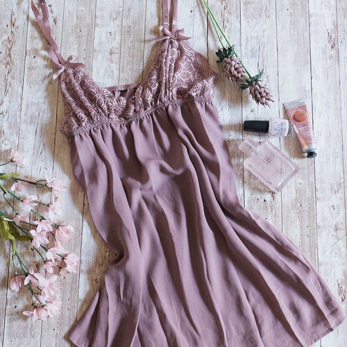 Lacy Top Babydoll - Mauve