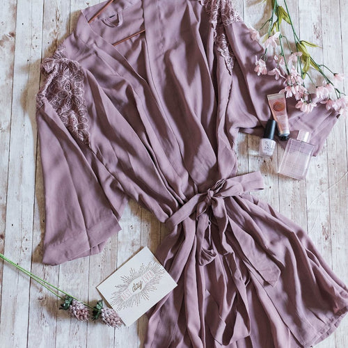 Lacy Panel Robe - Mauve