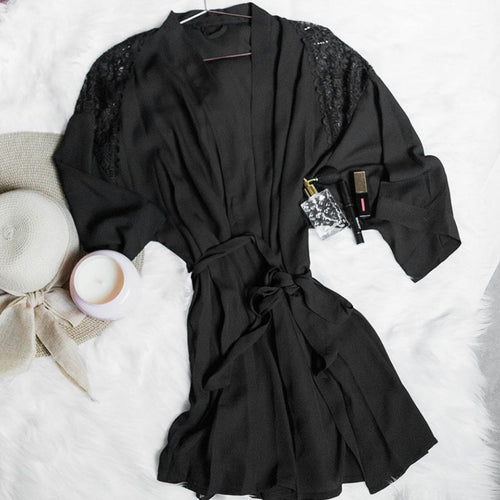 Lacy Panel Robe - Black