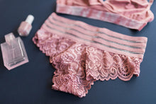 Lacy Striped Hipster Panty - Rose
