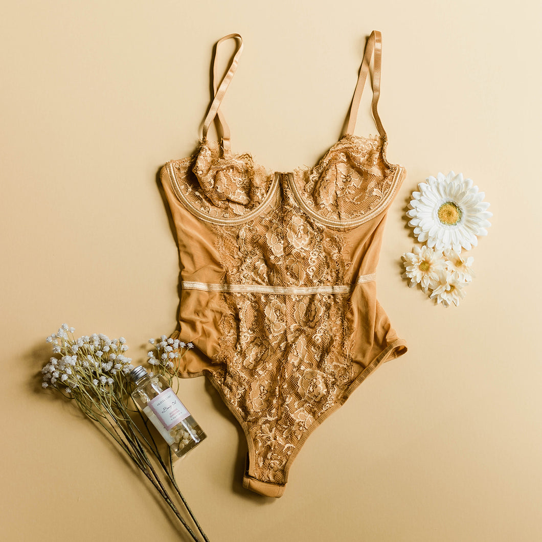 Lacy Eyelash Lace Teddy - Mustard