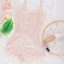 Lace Trimmed Romper - Beige