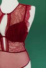 Lace & Mesh Padded High Neck Teddy - Burgundy