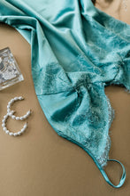 Satin & Eyelash Lace Chemise - Mint