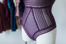 Crochet Lace Padded Teddy - Plum - Plus Size