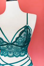 Lacy Caged Bralette - Emerald - Plus Size