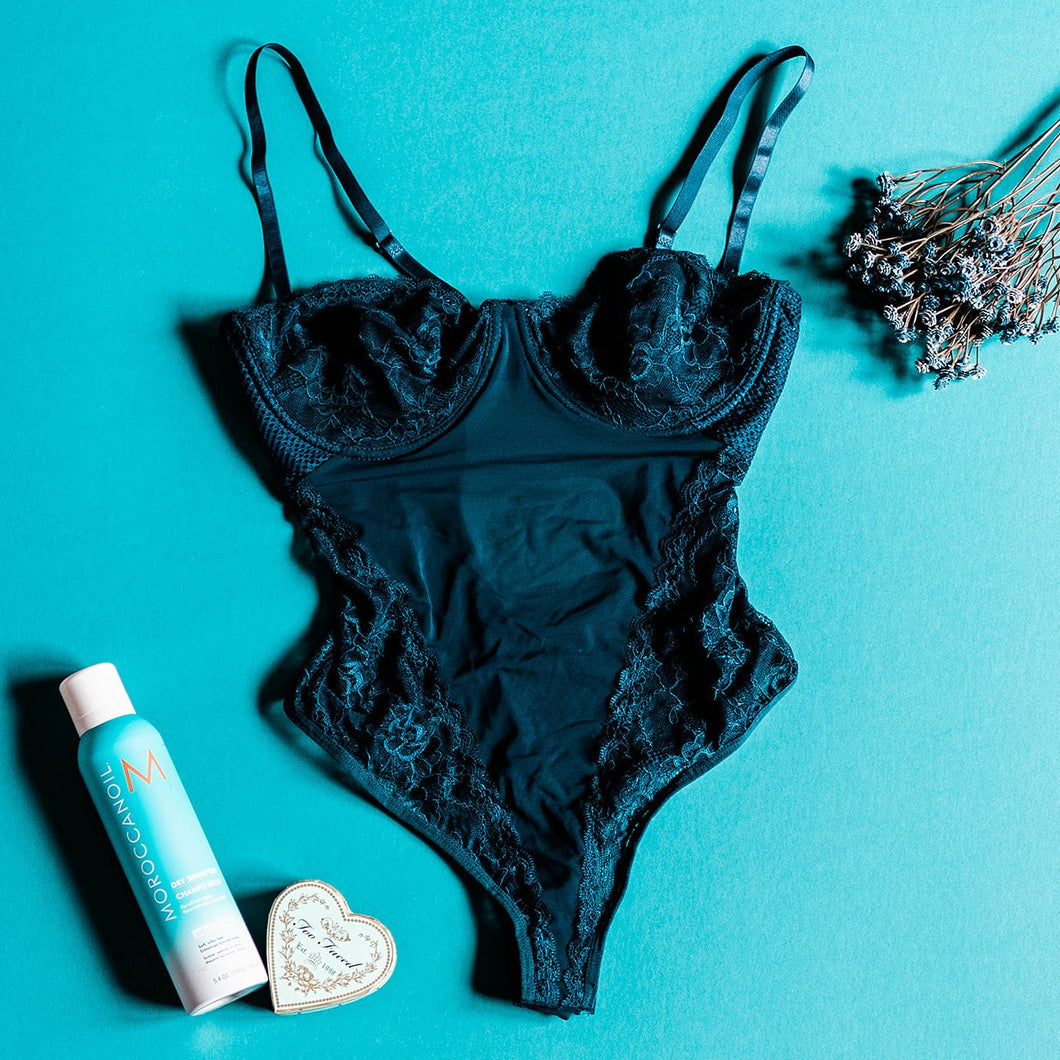 Lace & Mesh Teddy - Teal