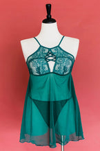 Criss Cross Babydoll - Emerald - Plus Size