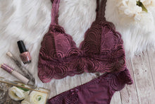 Scalloped Lace Padded Bralette - Dusty Plum