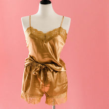 Satin Shorts & Cami Set - Mustard