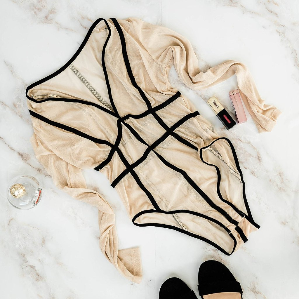 Long Sleeve Mesh Teddy - Beige