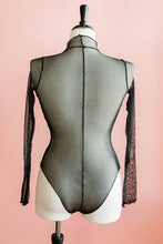 Long Sleeve Metallic Mesh Teddy - Black - Plus Size