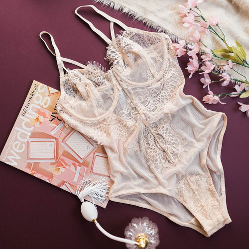 Eyelash Lace Trimmed Teddy - Light Beige