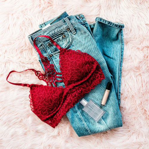 Floral Lace Padded Bralette - Red