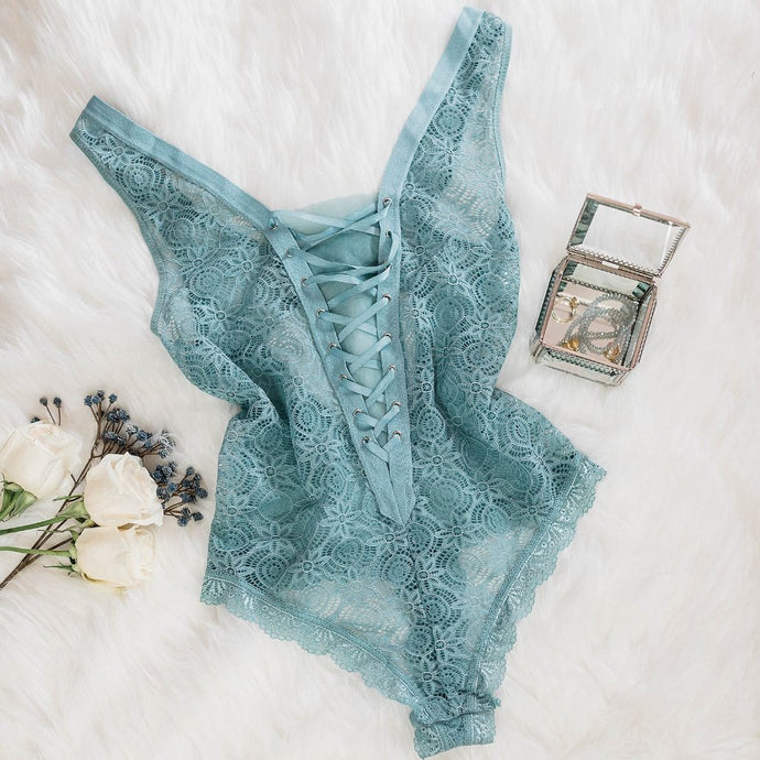 Floral Lace Up Teddy - Dusty Teal