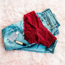 Floral Lace Panty - Red