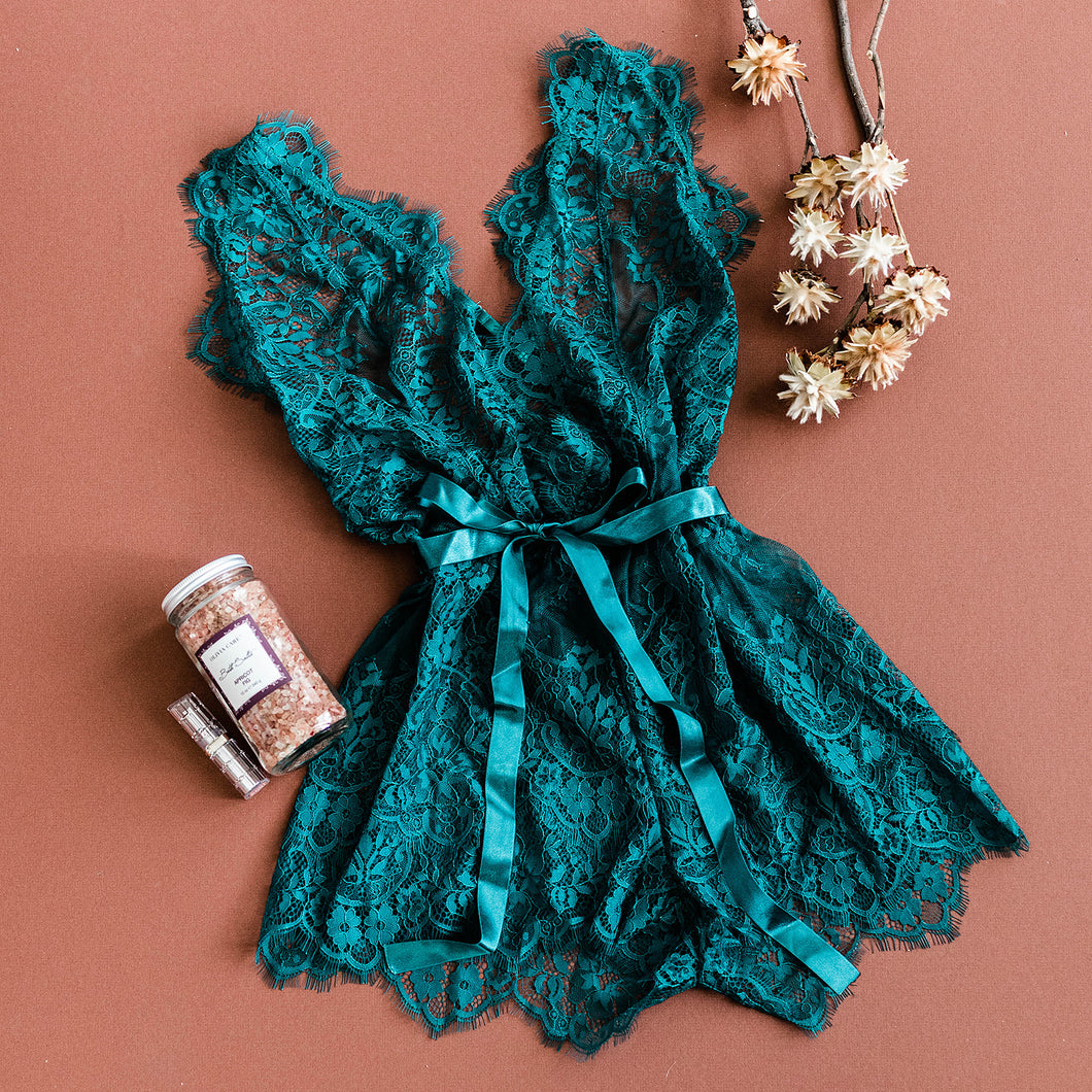 Eyelash Lace Romper - Emerald - Plus Size