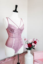 Criss Cross Lacy Teddy - Mauve - Plus Size