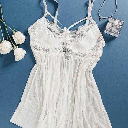 2a1c7b0e1e7 Lace   Mesh Caged Babydoll - Ivory - Plus Size