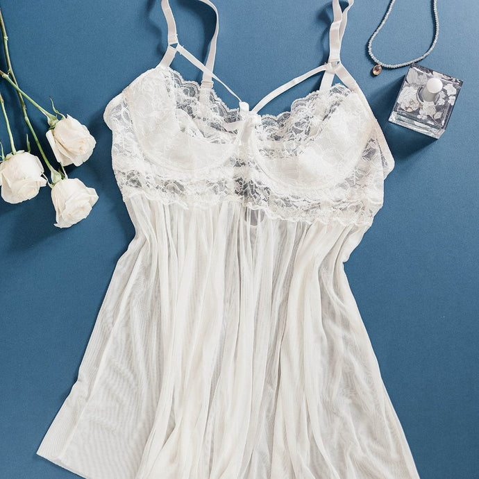 Lace & Mesh Caged Babydoll - Ivory - Plus Size