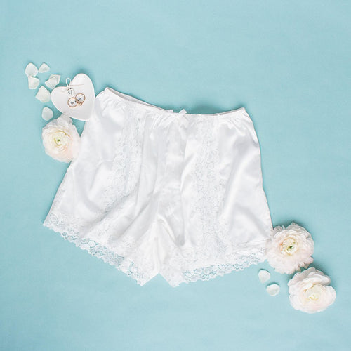 Satin & Lace Shorts - Ivory
