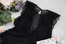 mesh plunge scalloped lace teddy plus size black