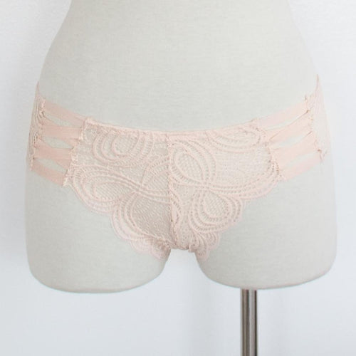 Lacy Strappy Cheeky Panty - Peachy