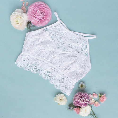 Floral Lace High Neck Keyhole Bralette