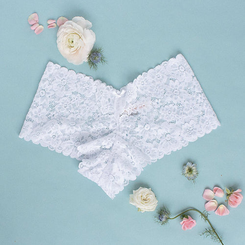 floral lacy cheeky panty white