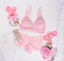 Embroidered Applique Padded Bralette - Pink