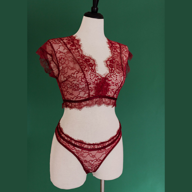 Sheer Eyelash Lace Set - Burgundy